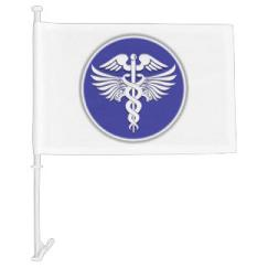 caduceus doctor nurse medical sign car flag
