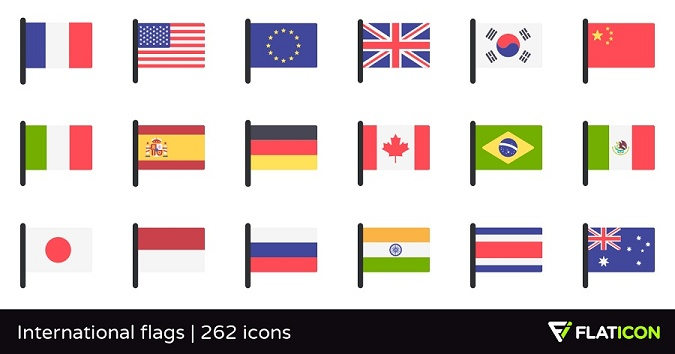 international flags and banners